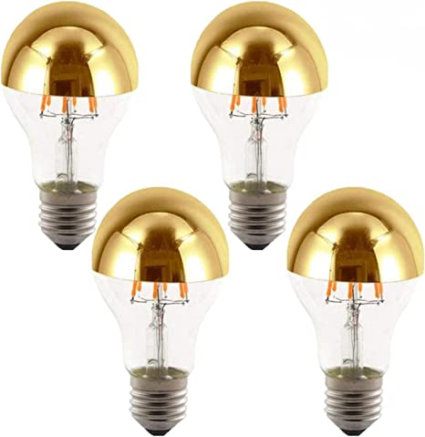 Lxcom Half Chrome Light Bulb 6w 60 Watt Equivalent Dimmable A60 Half Gold Reflected Light Warm White 2700k Decorative Led Edison Bulb E26 E27 Base Gold Tipped Mirror Bulbs 4 Pack