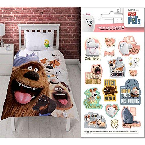 Secret Life of Pets Animals Single/US Twin Panel Duvet Cover + Secret Life of Pets Metro Small Foil Stickers