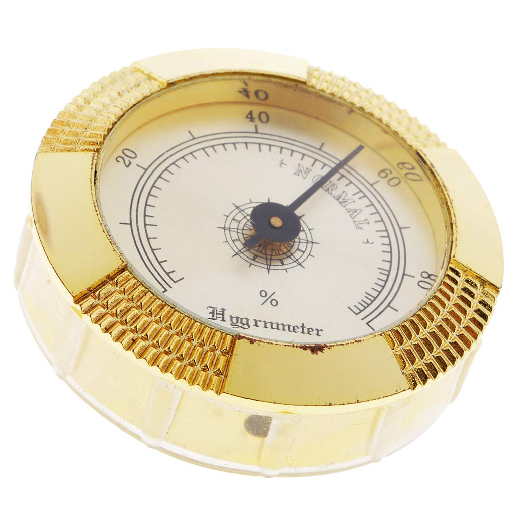 Baosity Retro Golden Frame Round Humidity Hygrometer for Cigar Humidor Cabinets 47mm Diameter