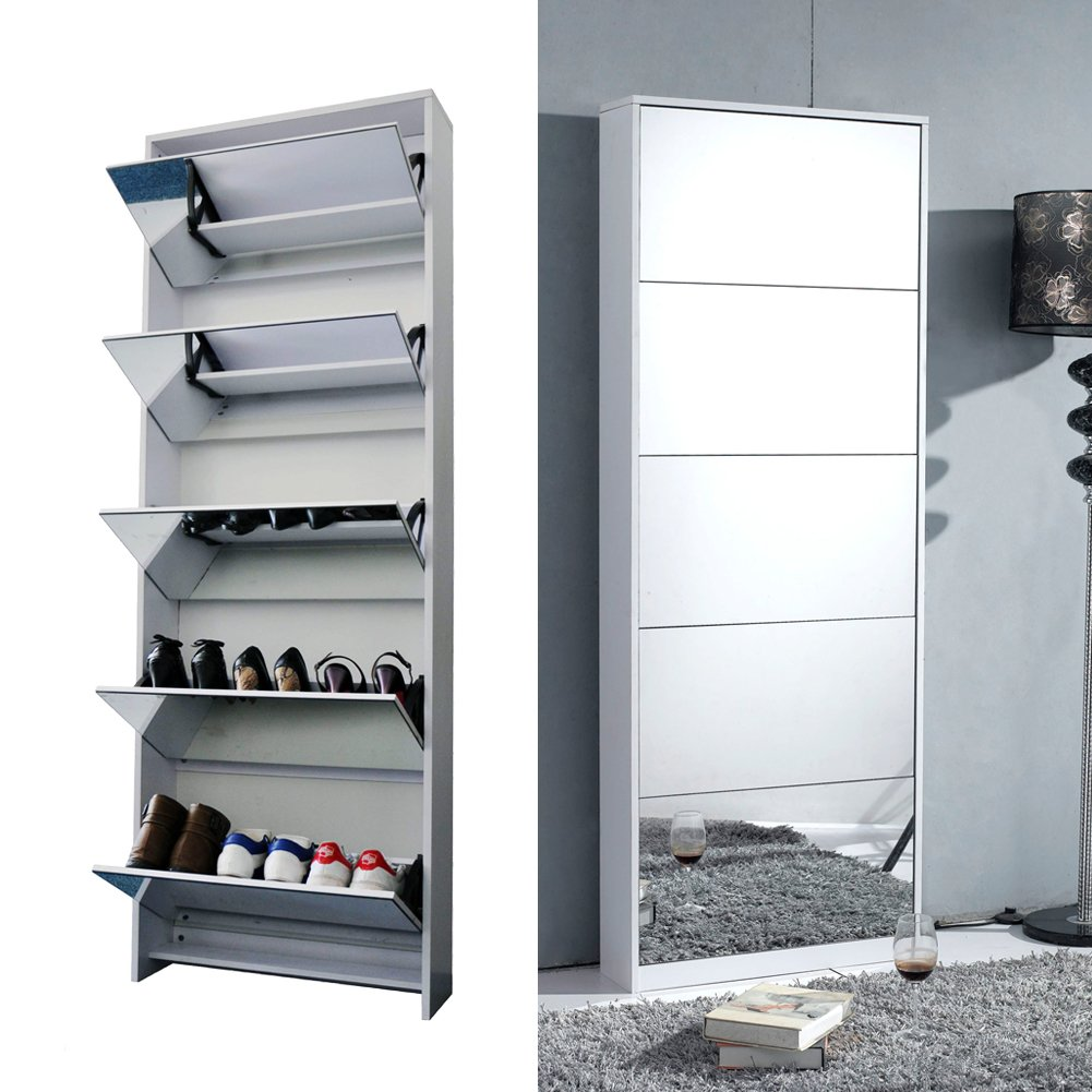 Amazon.com   Organizedlife White Wooden Shoe Cabinet Mirror Shoe Organizer  With With 5 Racks
