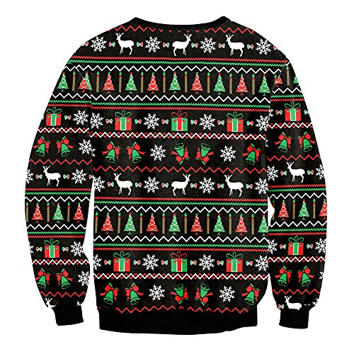 Cartoon a Christmas as Round Christmas Jumper Sweater Style Printing Sweatshirt Christmas Collar Gift Dress S 1 Unisex with Blouse Sleeve Sweater Long 3D ZFTn0zqa