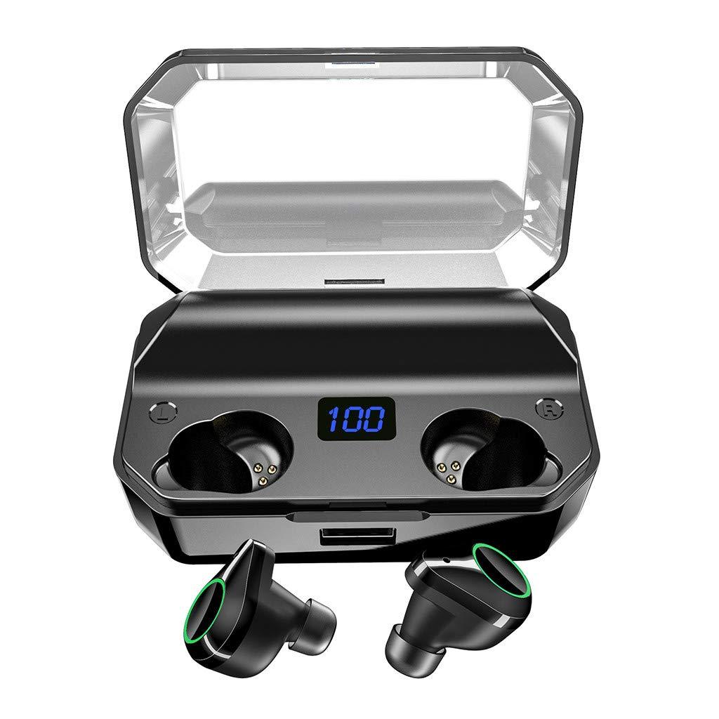 Barcley Bluetooth 5.0 Wireless Earbuds T9 – Bluetooth Headphones Extreme Subwoofer Bass True Wireless Earbuds w/Waterproof, Mini 6000mAh Charging Case, Graphene 3D HiFi Stereo Sound (Black)