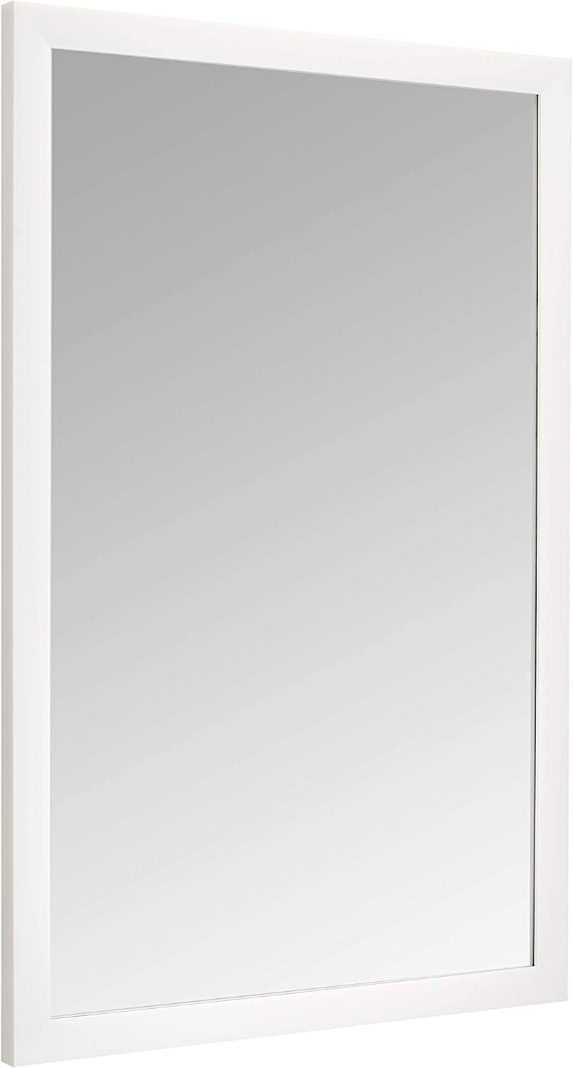 "AmazonBasics Rectangular Wall Mirror 24"" x 36"" - Standard Trim, White"