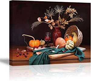 Foods Wall Decor Plants in Vase Wall Art Retro Canvas Oil Painting Pumpkins on Table Black Background Framed Picture Home Decoration for Kitchen (Ready to Hang)