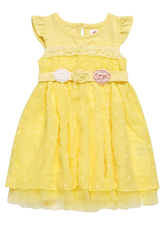 BONNY BILLY Vestiti Bambina Neonata Bimba Estivi Casual Cotone Chiffon Pois con Fiori