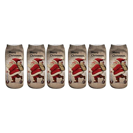 Cosanter Calcetines Ocasionales Impresos 3D Divertidos de la Navidad Calcetines Tobilleros Bajos Lindos para Las Mujeres y los Hombres (A): Amazon.es: Ropa ...