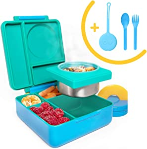 OmieBox Bento Box for Kids Insulated Bento Lunch Box with Leak Proof Thermos Food Jar, 3 Compartments + Capri Blue Utensil Set with Case