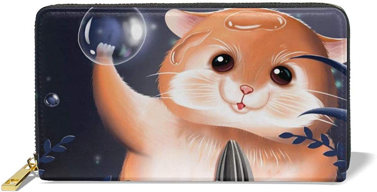 A Hamster Genuine Leather Girl Zipper Wallets Clutch Coin Phone For Women