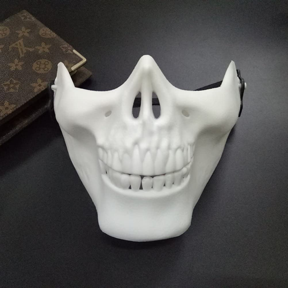 Skull Skeleton Mask Full Face Protector Halloween Mask for Cosplay Masquerade Party (White)
