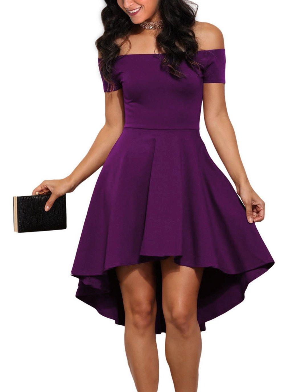 Sidefeel Women Off Shoulder Sleeve High Low Skater Dress XX-Large Purple
