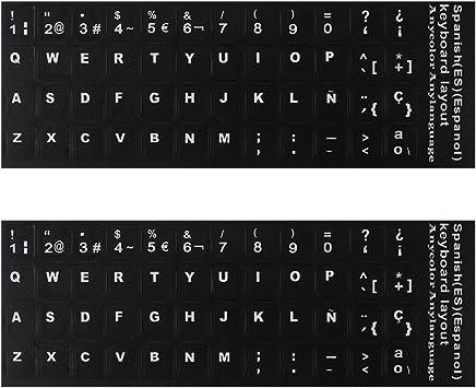 Pegatinas españolas para teclado, fondo negro con letras blancas, adhesivo de repuesto para computadoras, portátiles, teclados de escritorio, español, ...