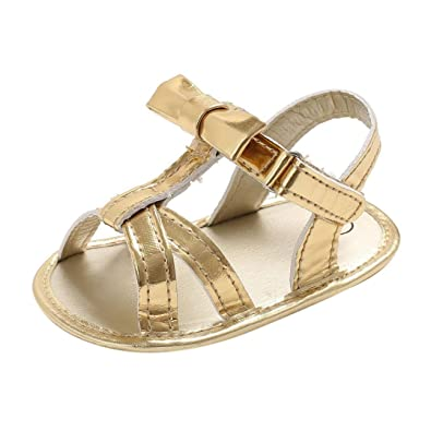 Newborn Infant Toddler Baby Girl Bow Knot Sandals First Walker Strappy PU  Leather Crib Shoes ( 4230a6ded690