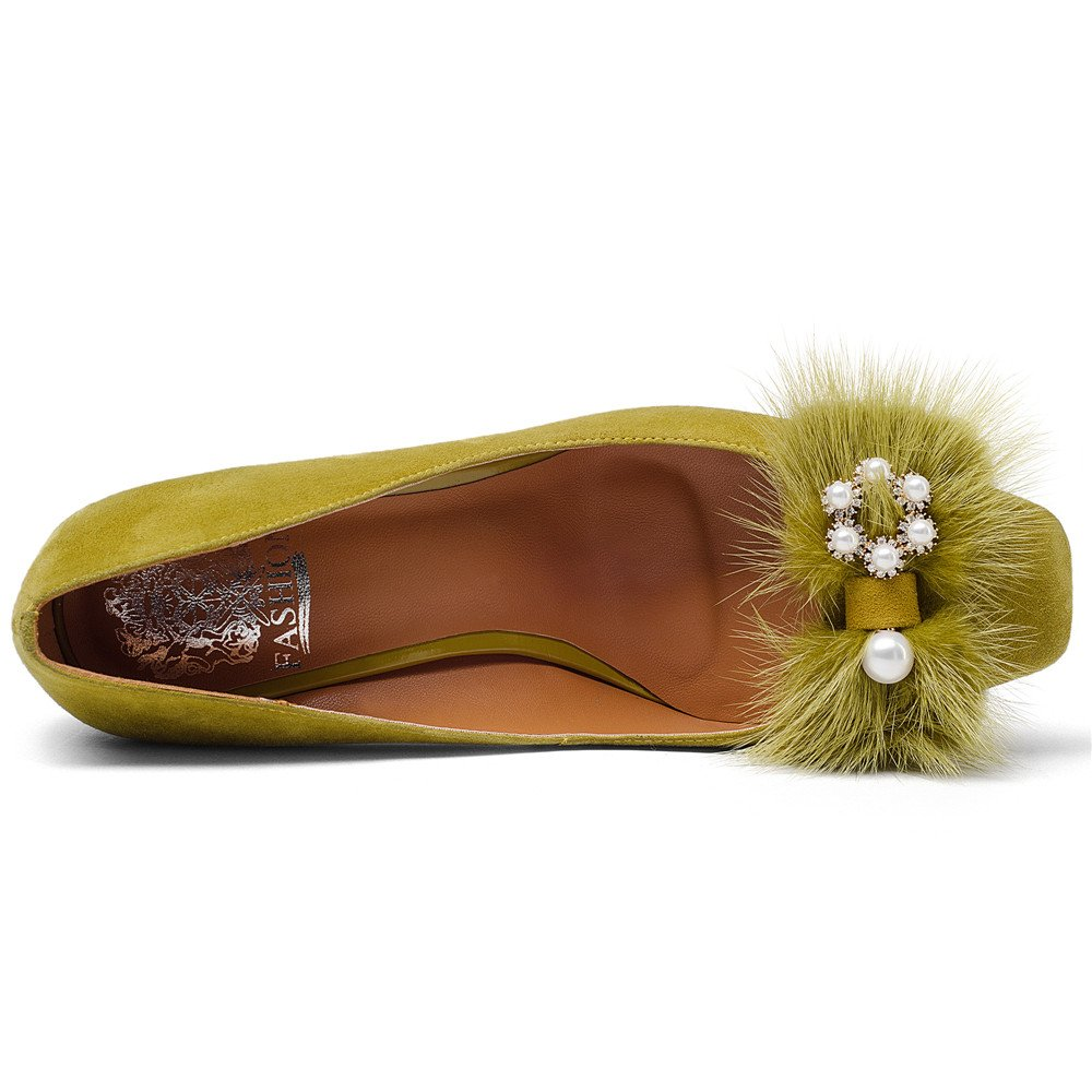 Nine Seven Suede Leather Women's Square Toe Chunky Heel Pearls Handmade Pumps Shoes with Fur (10.5, Yellow) by Nine Seven (Image #5)