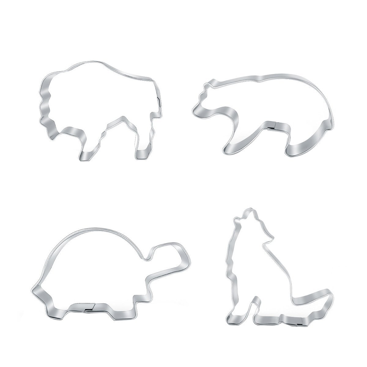 Animal Cookie Cutters Set - Polar Bear, Lion, Turtle, Wolf Stainless Steel 4 Pics Cracker Pastry Fordant Molds