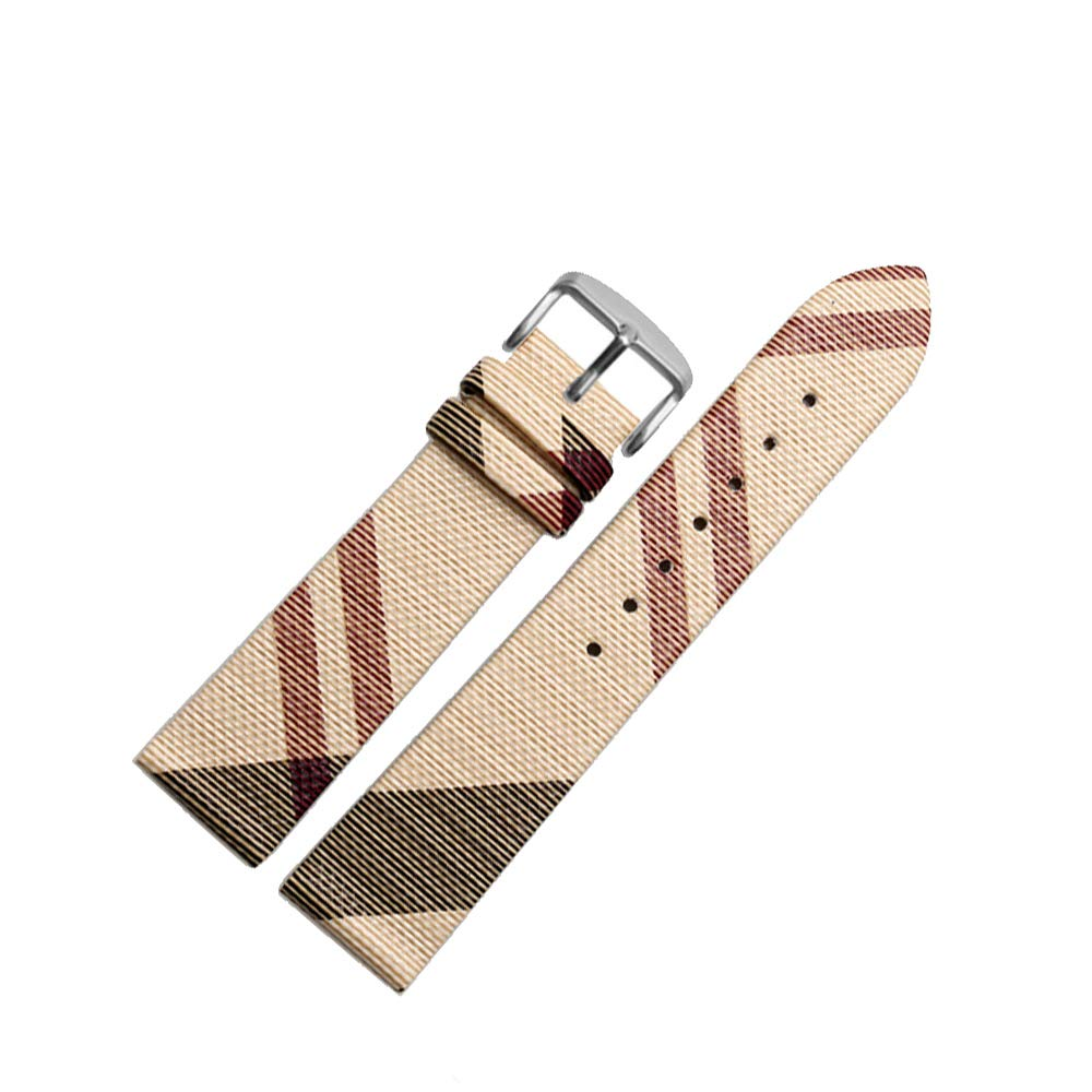 Finjin R 16mm/18mm/20mm Unisex Calfskin Leather Watch Band Genuine Replacement for Burberry Watch Band (20 mm, Beige)