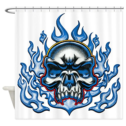 Shower Curtain Skull in Blue Flames