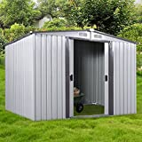 6' x 8' Metal Garden Storage Utility Tool Shed Outdoor Backyard Patio Tool House w/ Sliding Door