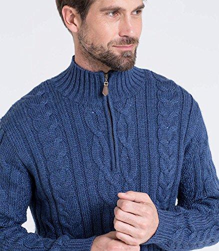 WoolOvers Pullover mit Aran-Zopfmuster und Reiverschluss am Ausschnitt für Herren French Navy, M