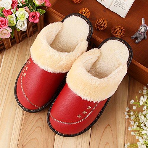 LaxBa Femmes Hommes Chaussures Slipper antiglisse à lintérieur Le Rouge 26=3738