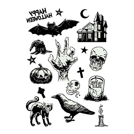 mi ji Belleza Tema de Halloween de dibujos animados impermeable temporal luminoso etiqueta engomada del tatuaje