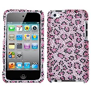 Pink Leopard With Full Rhinestones Faceplate Hard Plastic Protector Snap-On Cover Case For Apple iPod Touch 4 (4th Generation)