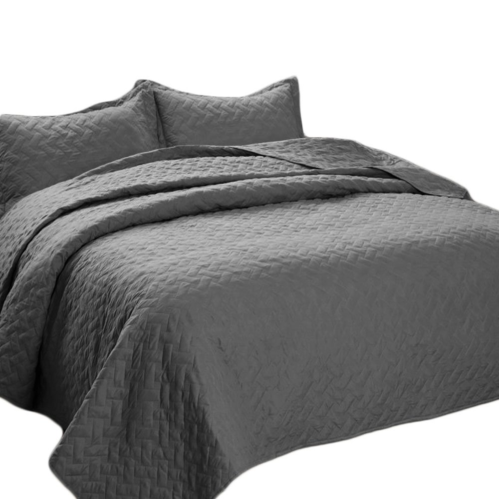 Bedsure Quilt Set Solid Grey King(106''x96'') Basketweave Pattern Lightweight Hypoallergenic Microfiber Simone by Bedsure