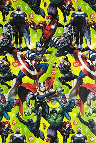 Marvel Avengers Superheros Wrapping Paper Gift Wrap (3.33 Feet Wide - 70 Sq -