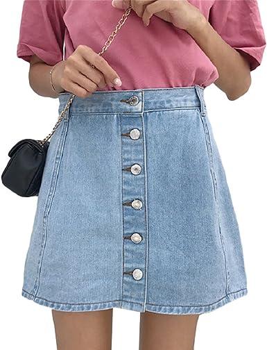 LINNUO Falda Vaquera Mujer con Botones Casual Pantalones Cortos de ...