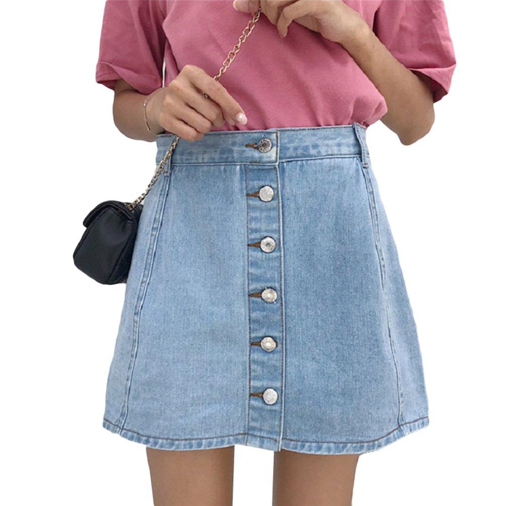 LINNUO Minigonna di Jeans con Bottoni Casuale Pantaloncini Denim A-Line Skirt Vita Alta Club Sportivi Donna
