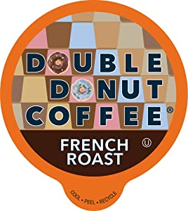 Double Donut French Roast Fresh Bold Roast Coffee SingleServe Pods for Keurig K Cup Brewer Machines 24 Capsules per Box