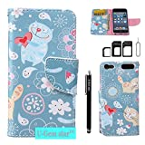 iPod Touch 5 Case, iPod Touch 6 Wallet Case, U-Gem star PU Leather Wallet Cover Case for Apple iPod Touch 5 or iPod Touch 6, with SIM Card Adapter Kit+Screen Protector+Black Stylus (Graffiti)