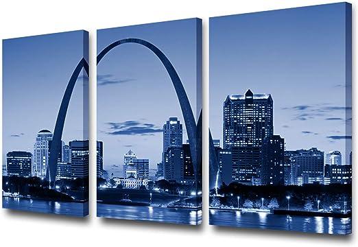 St Louis Skyline City CANVAS WALL ART Panoramic Framed Print