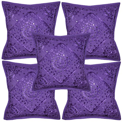 Lalhaveli Decorative Entrance Handmade Mirror Embroidery Cotton Cushion Cover 16 X 16 Inches Set of 5 Pcs