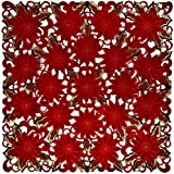 "Linens, Art and Things Embroidered Elegant Rich Christmas Red Poinsettia Gold Thread Green Leaves Holiday Doily Small Square Tablecloth Centerpiece 33"" x 33"""