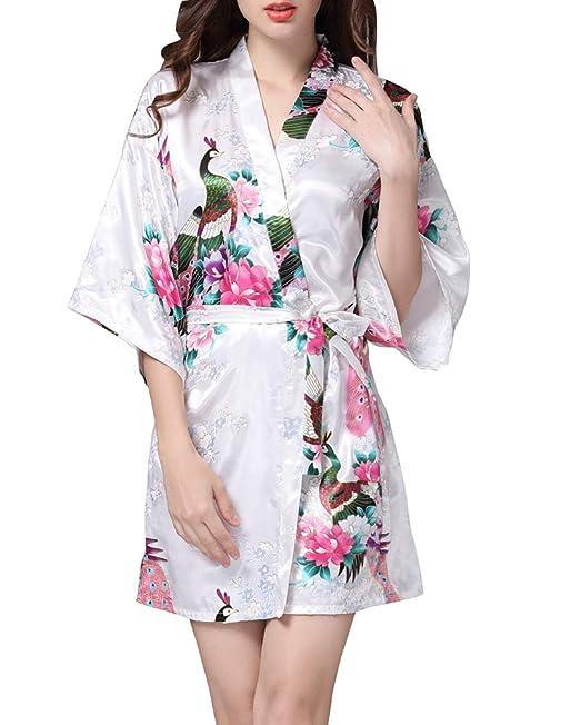 Pijama de Raso de Pavo Real de Kimono Bata de Satén Estampado Floral Ropa de Dormir 3/4 Manga con Cinturón Pijama Lencería: Amazon.es: Ropa y accesorios