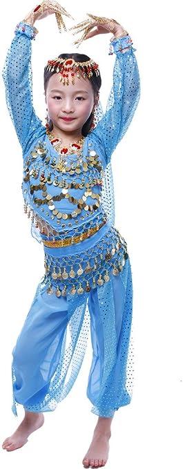 Astage Niña Disfraz Bailarina Danza del Vientre India Manga Larga ...