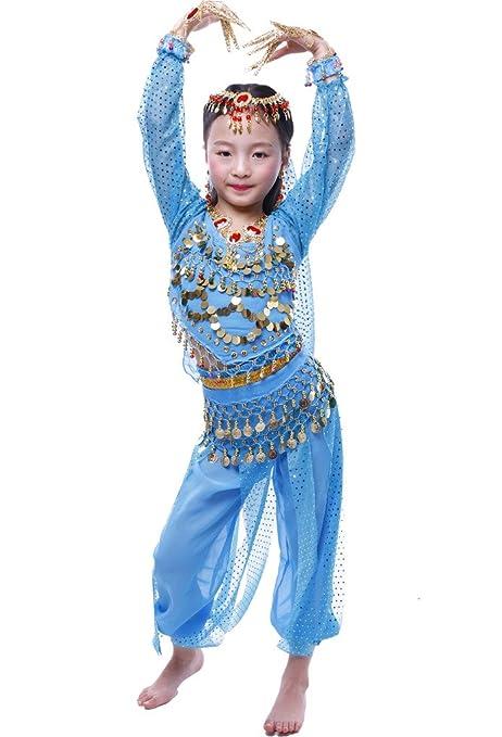 Astage Niña Disfraz Bailarina Danza del Vientre India Manga Larga Todos Accesorios Cielo Azul S