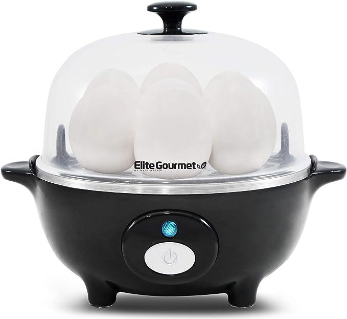 Elite Cuisine EGC-007B Easy Electric Egg Poacher, Omelet & Soft, Medium, Hard-Boiled Egg Cooker with Auto-Shut off and Buzzer, 7 Egg Capacity, Black   Amazon