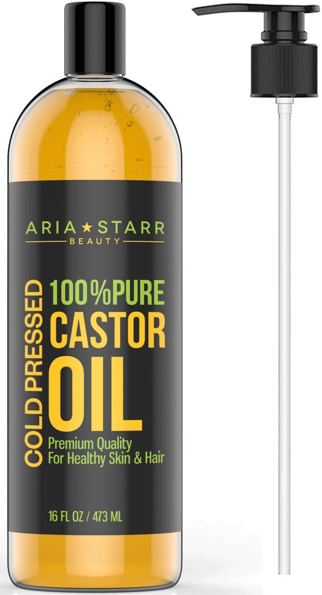 Aria Starr Castor Oil Cold Pressed - 16 FL OZ - BEST 100% Pure Hair Oil For Hair Growth, Face, Skin Moisturizer, Scalp, Thicker Eyebrows And Eyelashes by ...