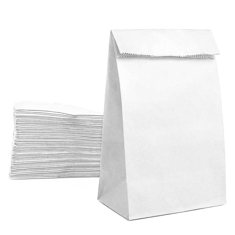 Paper Lunch Bags White Paper Bag for Food Bakery Bread Sandwich Bag Bulk 50Pcs