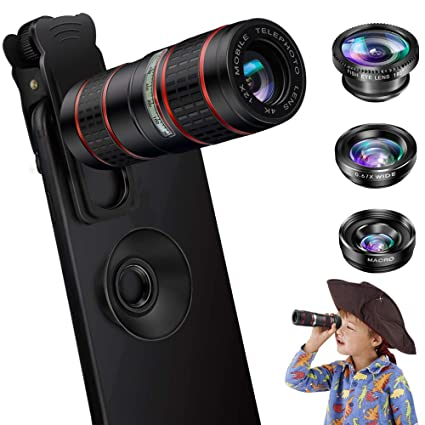 san francisco 611c6 40cce Phone Camera Lens, OYRGCIK 5 in 1 Cell Phone Lens Kit 12X Zoom Telephoto  Lens with telescope + Fisheye Lens + Super Wide Angle Lens+ Macro Lens for  ...