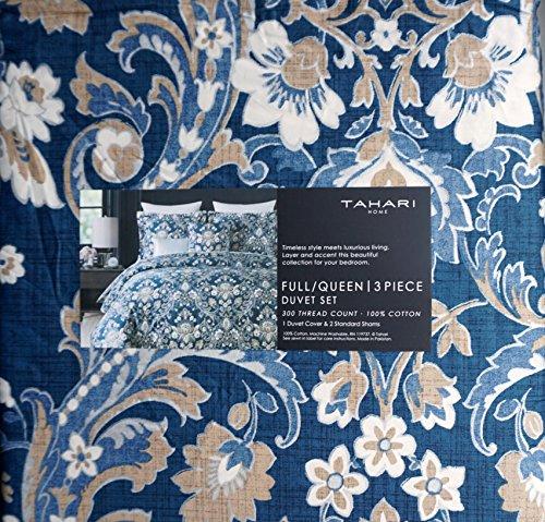Tahari Home 3pc Duvet Cover Set Paisley Medallion Silver: Tahari Bedding 3 Piece Full / Queen Duvet Cover Set Floral
