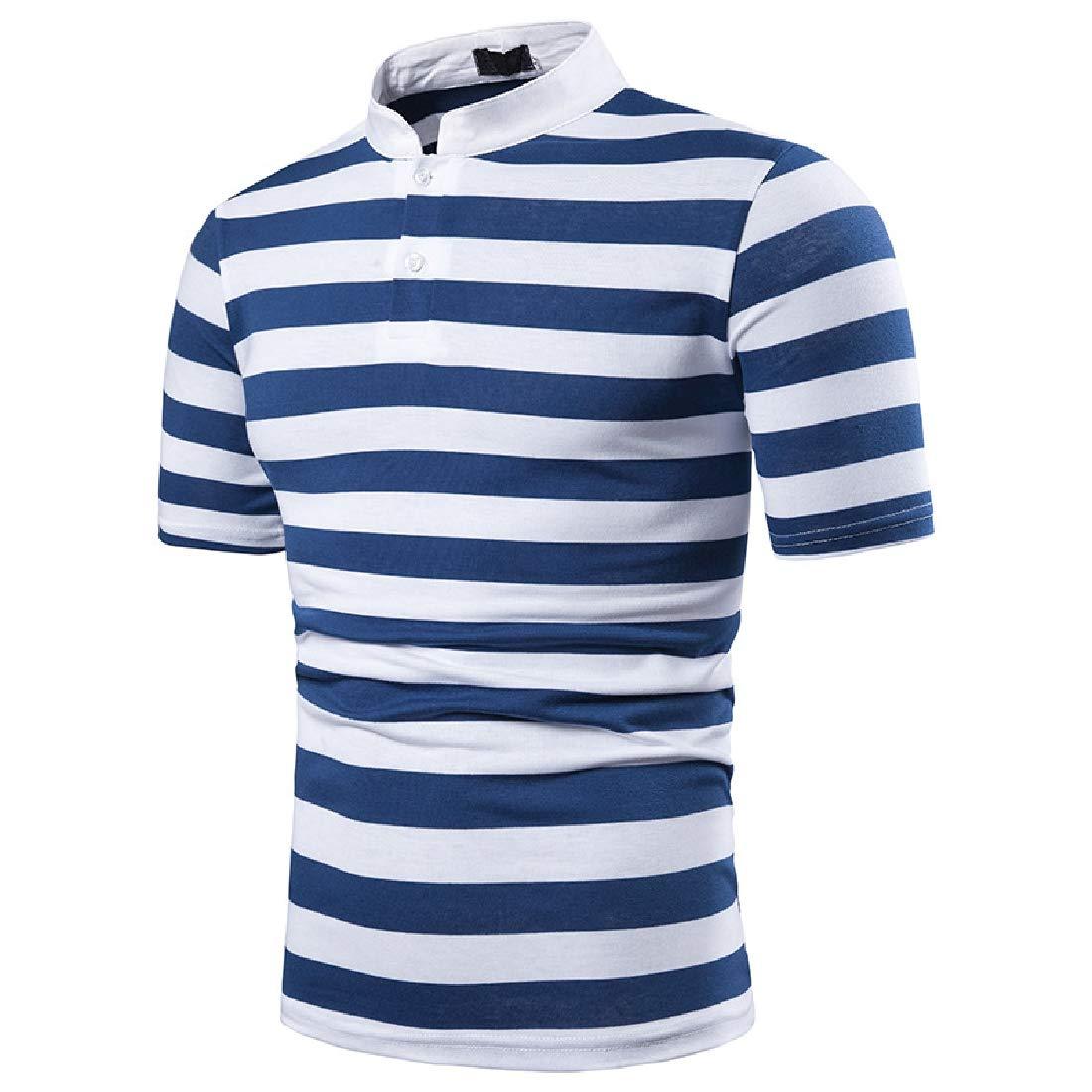 Domple Mens OL Short Sleeve Lapel Stylish Stripe T-Shirt Tee