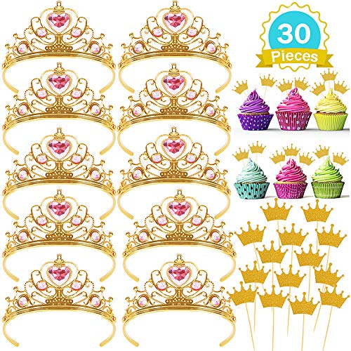 Price comparison product image 10 Pcs Princess Tiara and Crown with 20 Pcs Glitter Gold Crown Cupcake Toppers Gift Set Party Supplies for Girl's Birthday