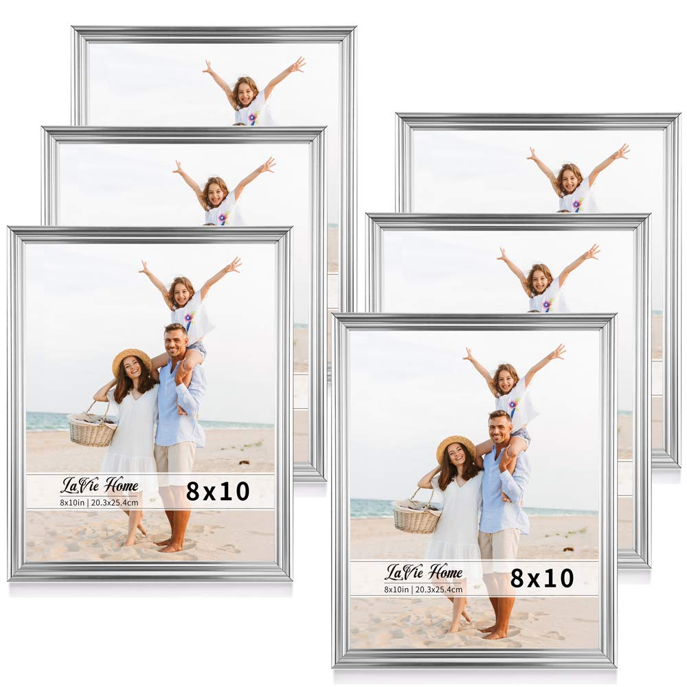 LaVie Home 8x10 Picture Frames(6 Pack, Silver) Single Photo Frame with High Definition Glass for Wall Mount & Table Top Display, Set of 6 Basic Collection