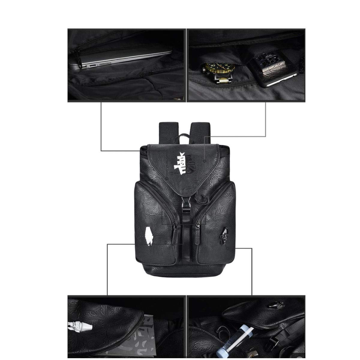 Fashion Bag Large Capacity Color : Black Men and Women Street Fashion Backpack Personalized Backpack Zhongyue Chinese Style Sports Backpack