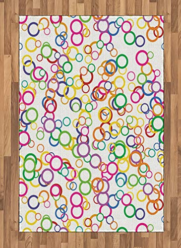 - Rainbow Area Rug, Circles Rainbow Party Gatherings Spectrum Round Summertime Joy, Non Slip Rug Pad 4' x 5.7' Rectangle, Safe for Hardwood Floors and All Surfaces