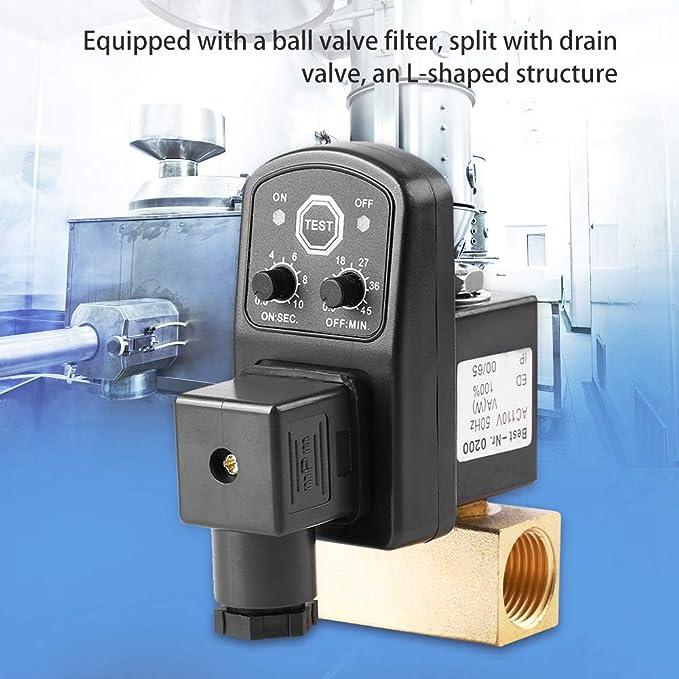 G1/2 DN15 110V 230V Tanque de agua temporizado automático Válvula de drenaje temporizada electrónica para gestión de condensado de compresor de ...