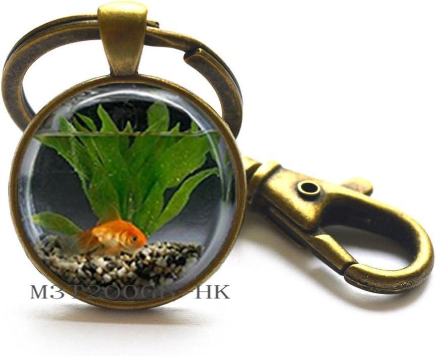 Goldfish in Bowl Design Silver Tone Black Leather Keyring fishing fishbowl BN