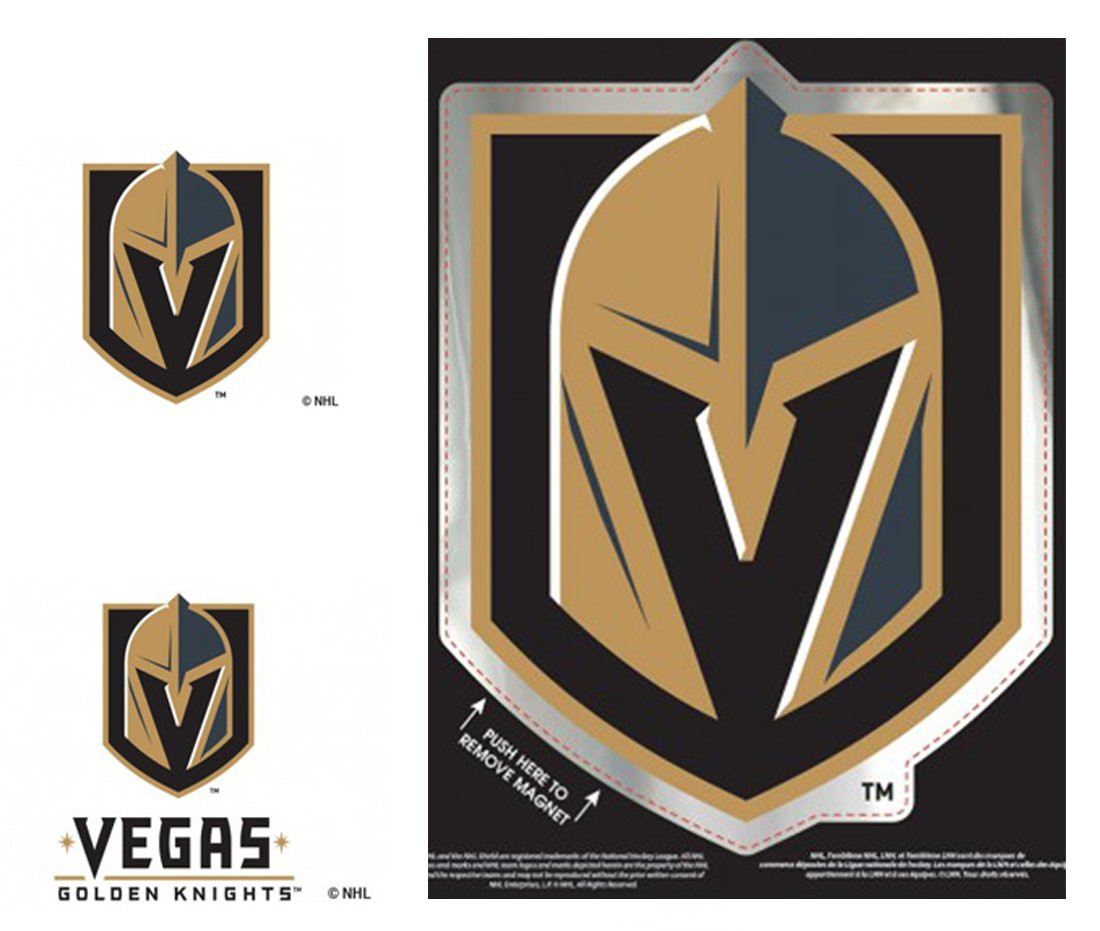 WinCraft Bundle 3 Items: Vegas Golden Knights 1 Large Die Cut Chrome Magnet and 2 Small Reusable Decals